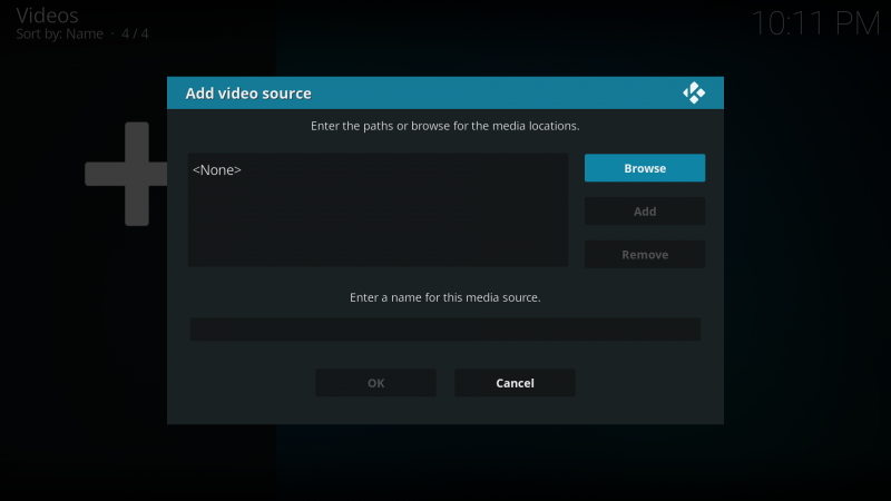 browse video on kodi